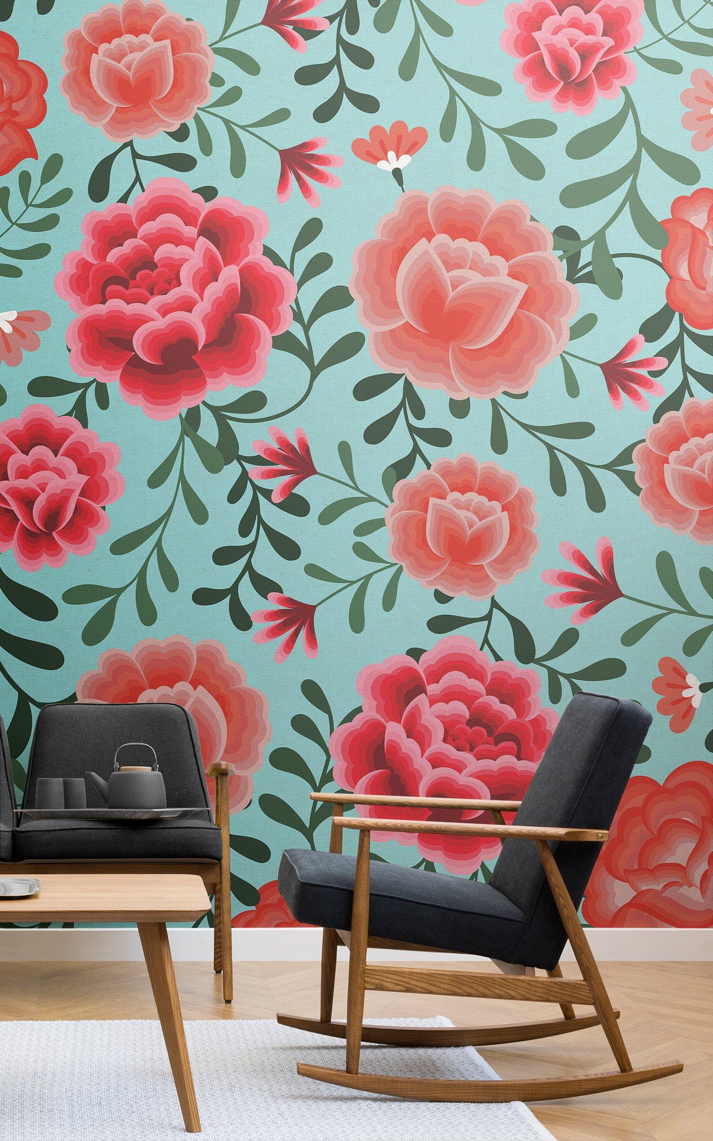 blue frida kahlo pattern wallpaper