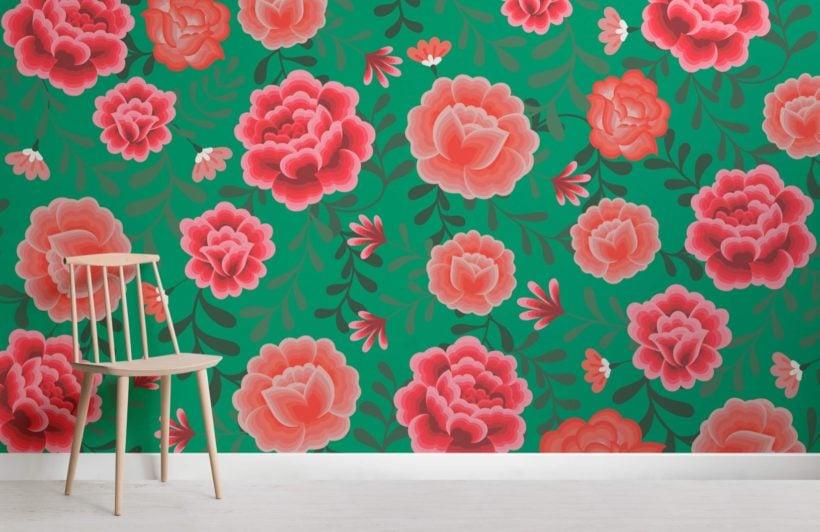 Green Frida Kahlo Floral Pattern Wallpaper Mural