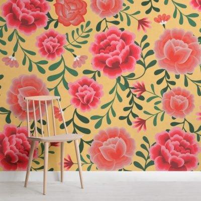 Yellow Frida Kahlo Floral Pattern Wallpaper Mural