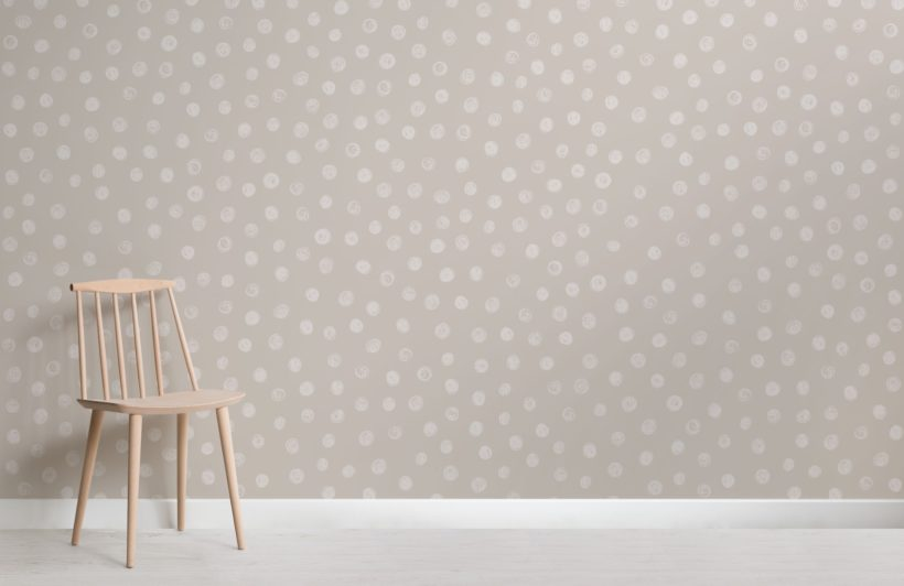 Cream Watercolour Polka Dot Wallpaper Mural