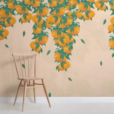 Cream and Orange Fruit Painterly Wallpaper Mural