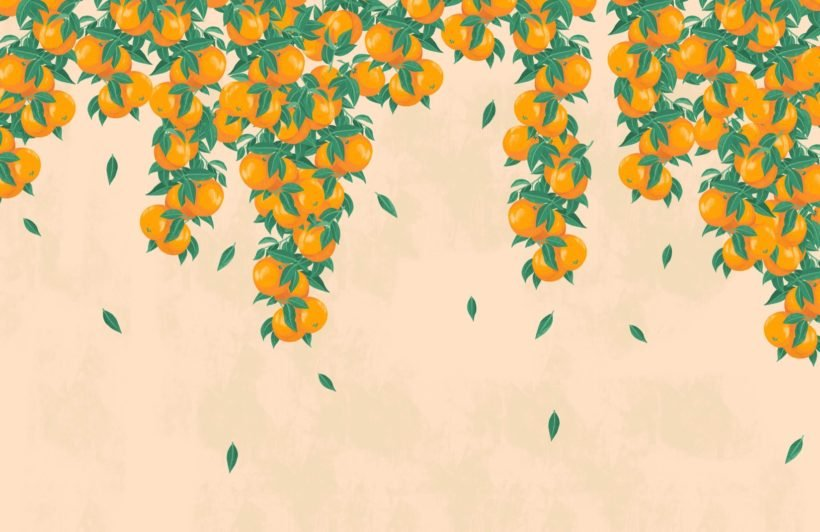 Cream and Orange Fruit Painterly Wallpaper Mural