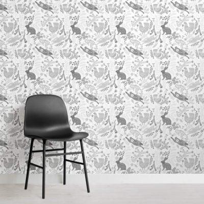 Cute Flower and Rabbit Wallpaper Mural