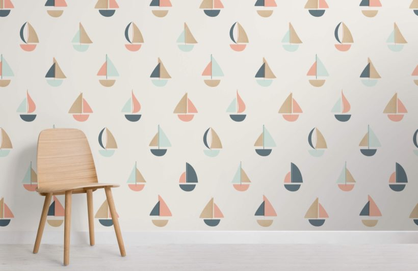 Cute Ships and Boat Wallpaper Mural