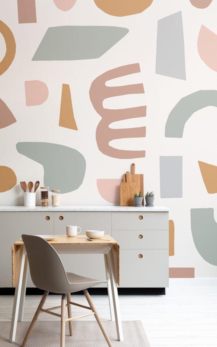Pastel Cut Out Shape Wallpaper