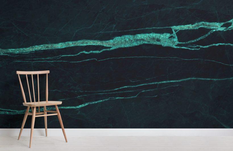 Dark Green Cracked Marble Effect Wallpaper Mural