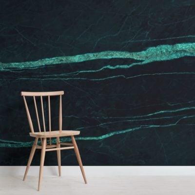 Dark Green Cracked Marble Effect Wallpaper Mural