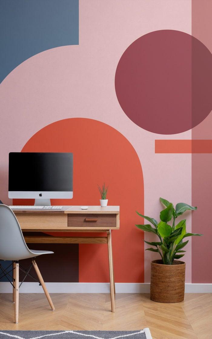 bold Bauhaus shapes wallpaper