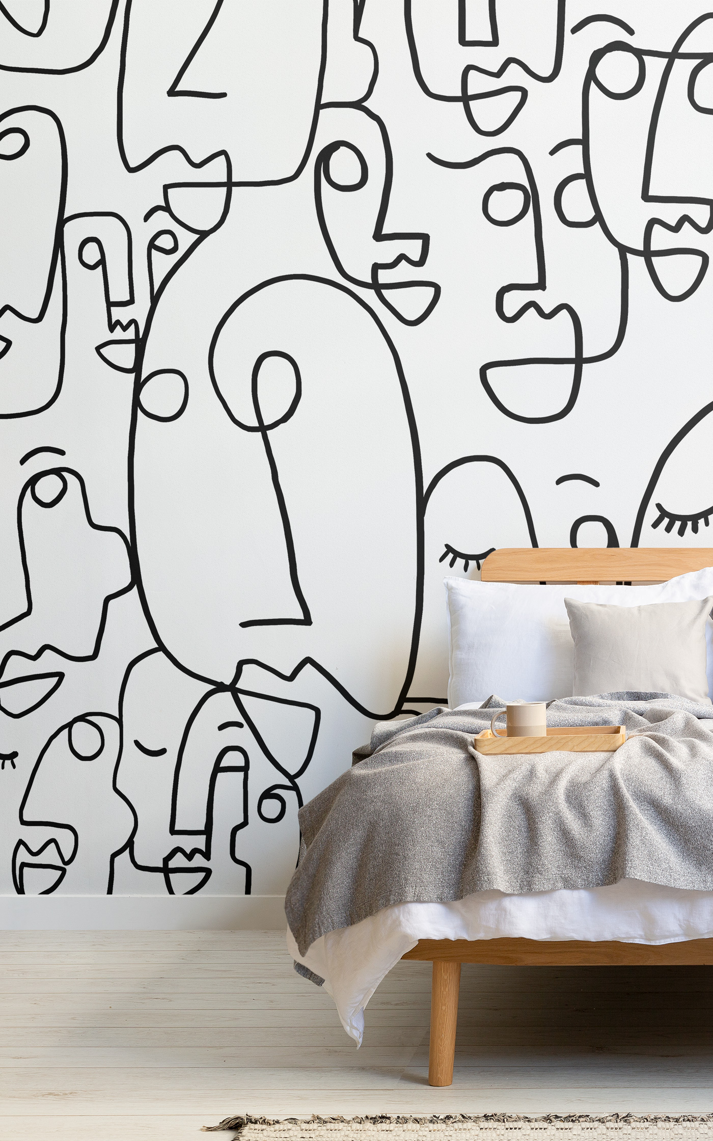 large face line drawing wallpaper