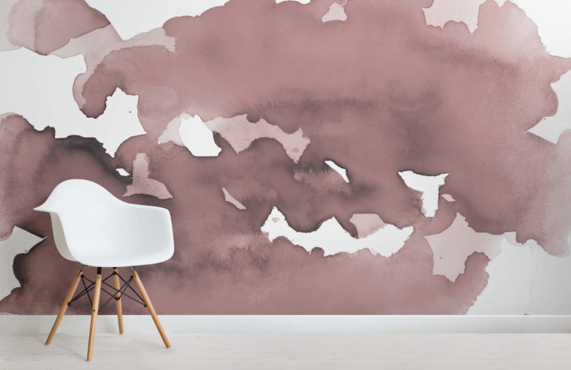 Dusky Pink Abstract Watercolour Wallpaper Mural
