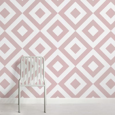 Dusky Pink Geometric Wallpaper Mural