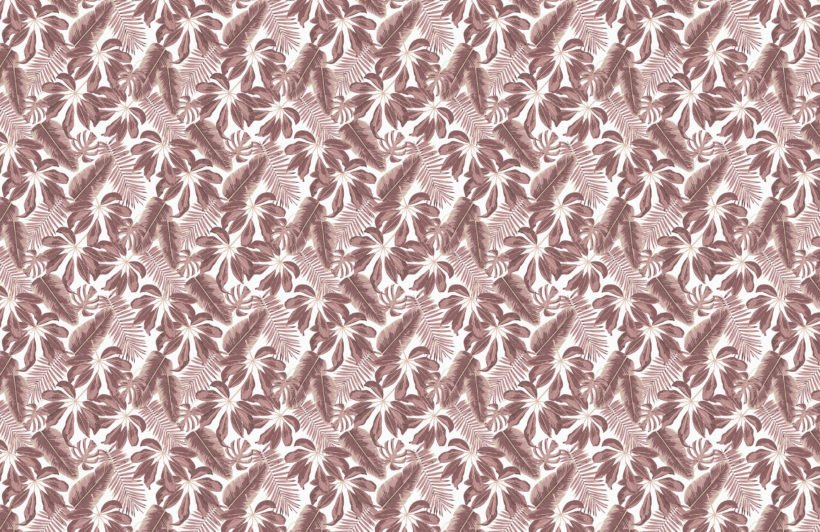 Dusky Pink Tropical Mixed Leaves Wallpaper Mural