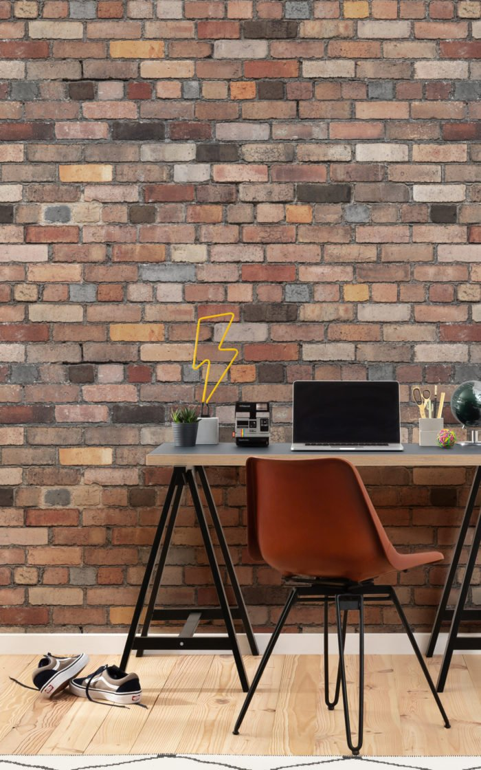 Eclectic brick wallpaper in home office