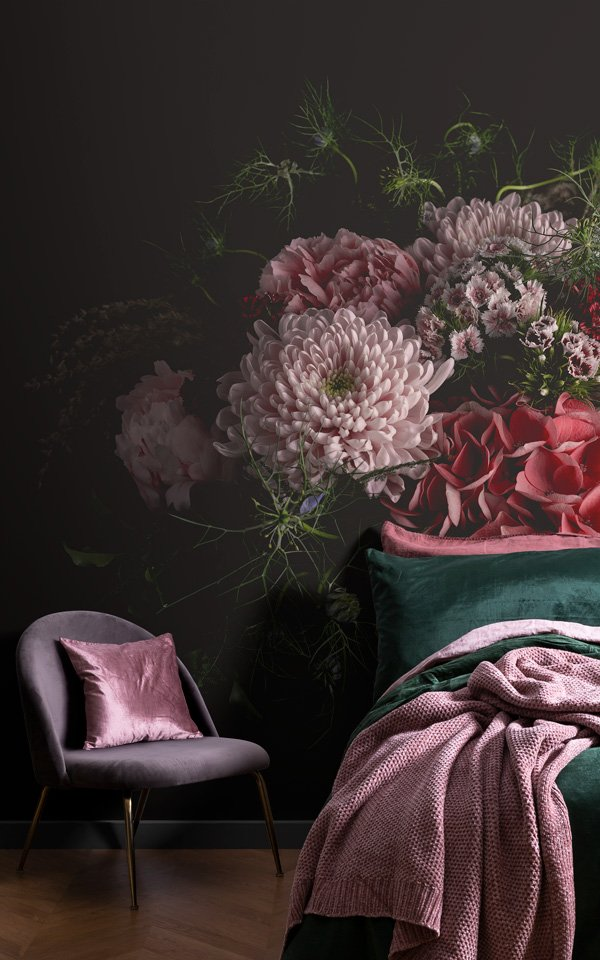 large photographic dark moody floral wallpaper