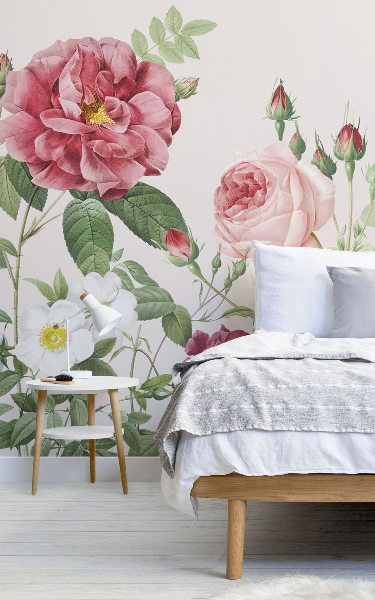 Pink Spring Flowers Vintage Floral Lovely Wallpaper Mural
