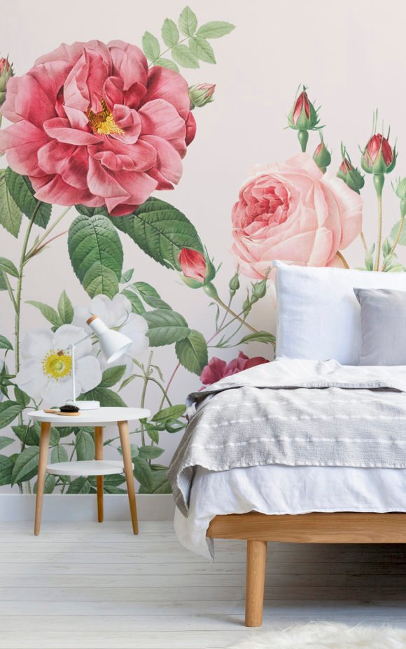 Pink Spring Flowers Vintage Floral Lovely Wallpaper Mural in Bedroom Image