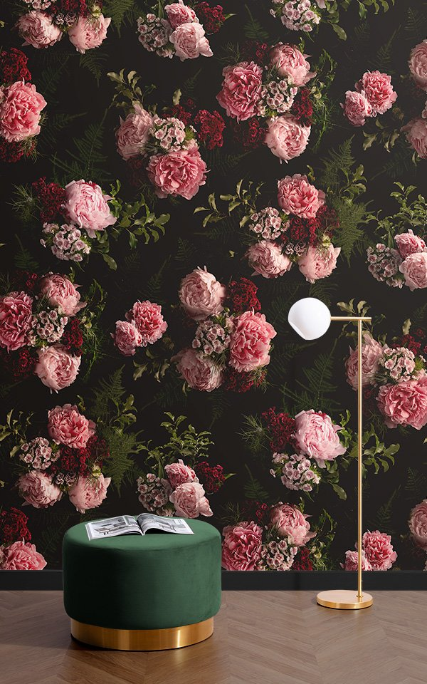 pink and black dark moody floral wallpaper