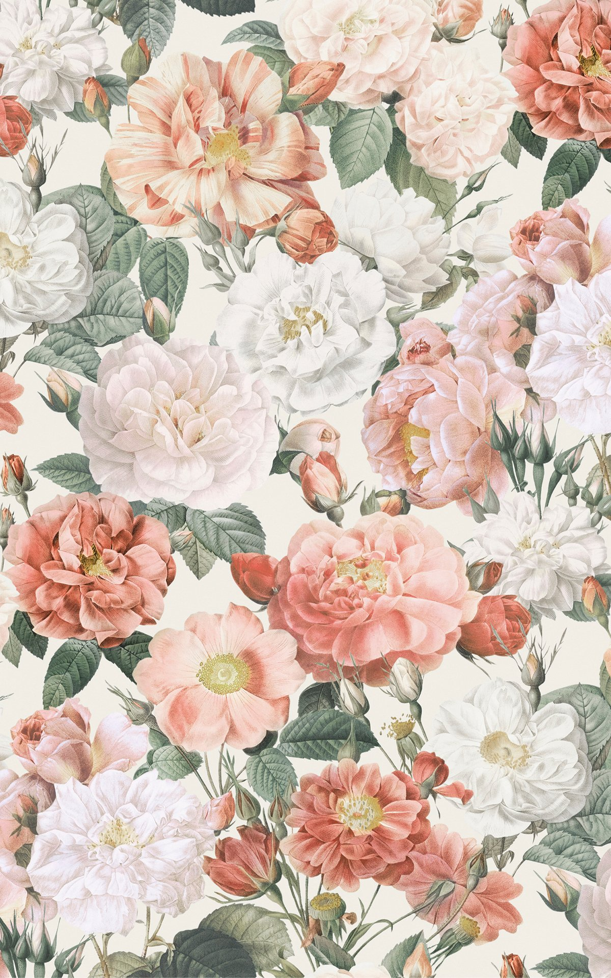 Pink & Red Roses Vintage Floral Wallpaper Mural Product Image