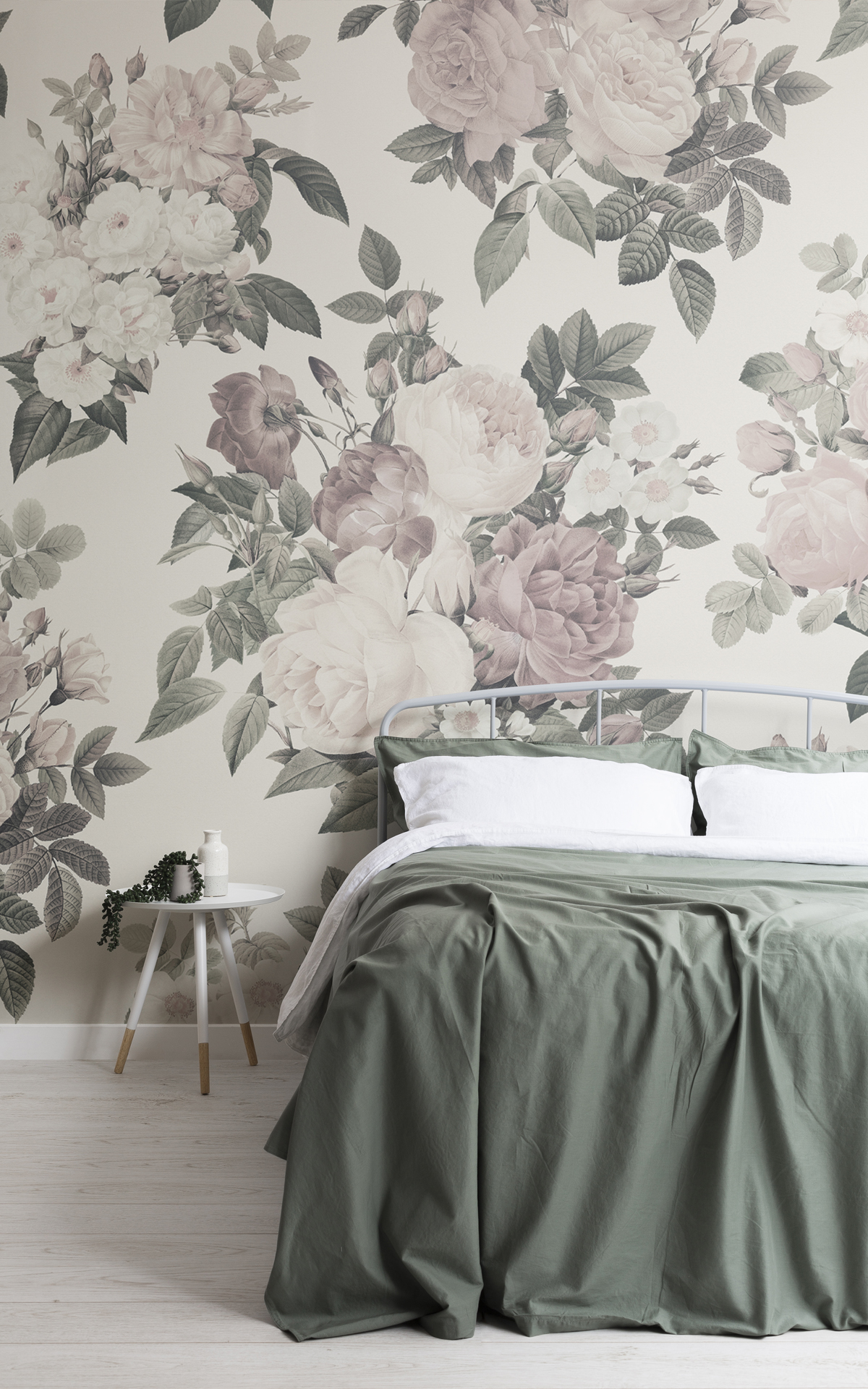 Cream & Pink Rose Vintage Floral Lovely Wallpaper Mural