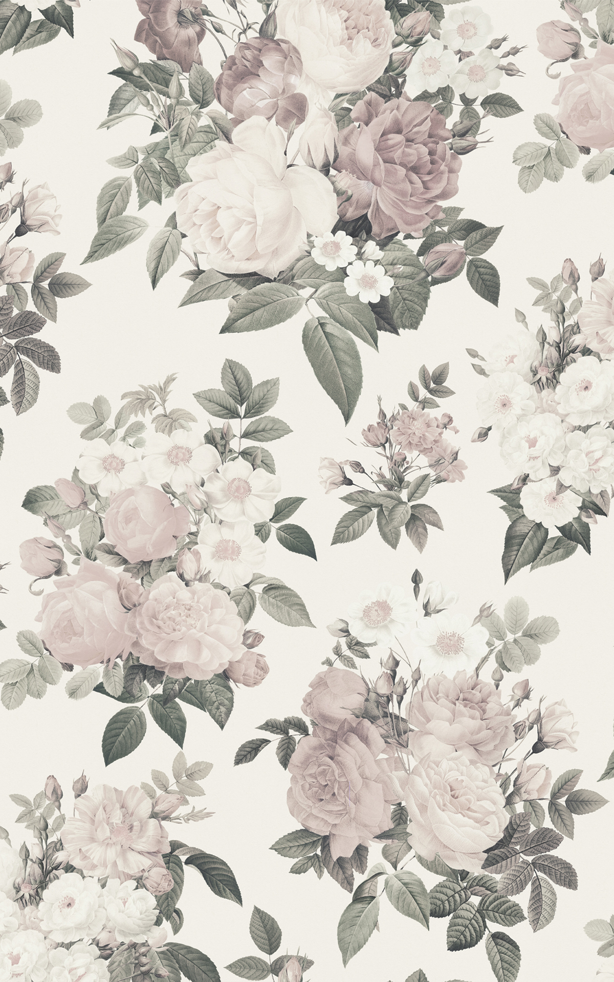Cream & Pink Rose Vintage Floral Lovely Wallpaper Mural Product Image