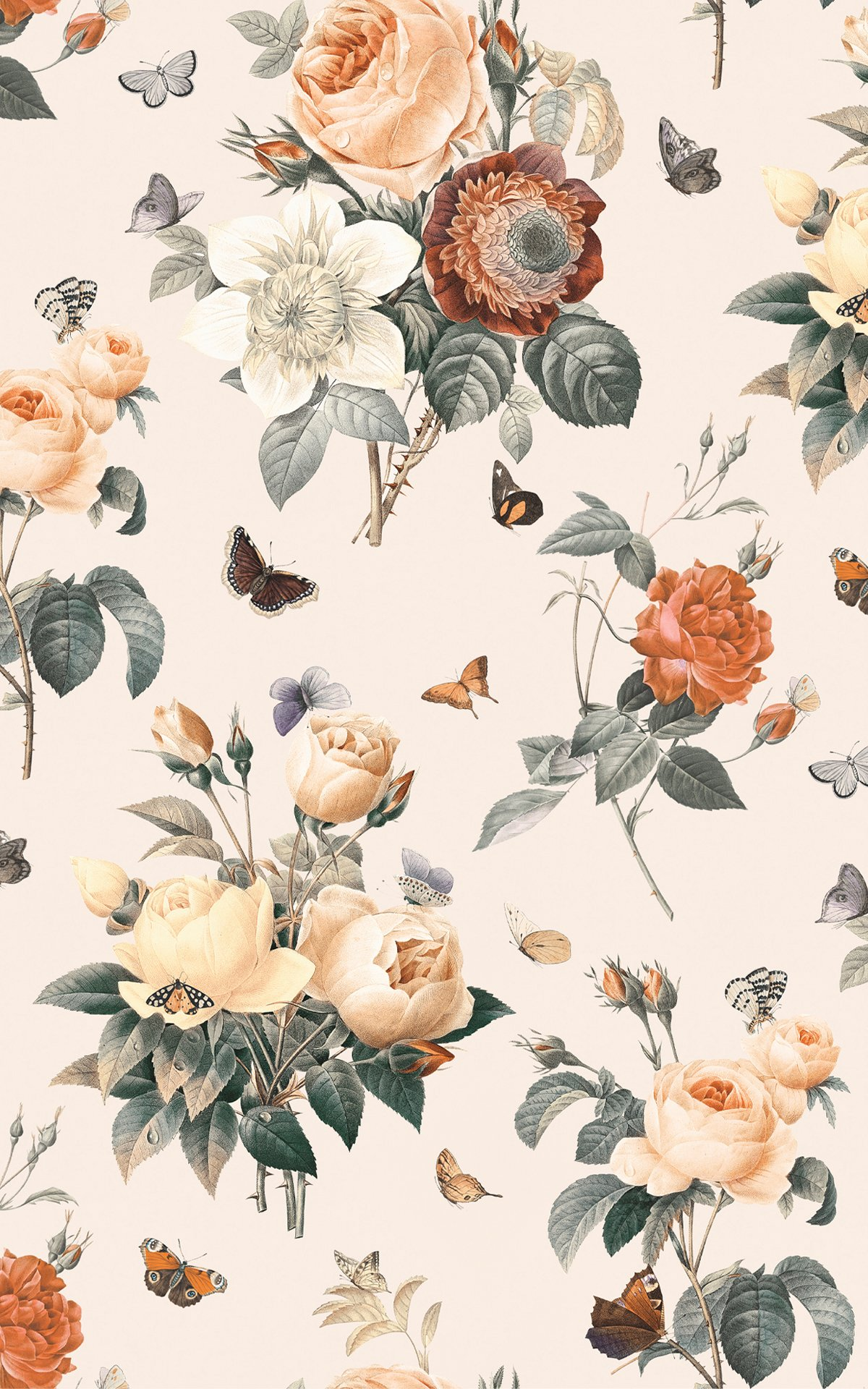 Cream & Orange Vintage Floral Butterfly Lovely Wallpaper Mural Product Image