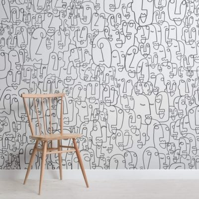 Face Line Drawing Wallpaper Mural