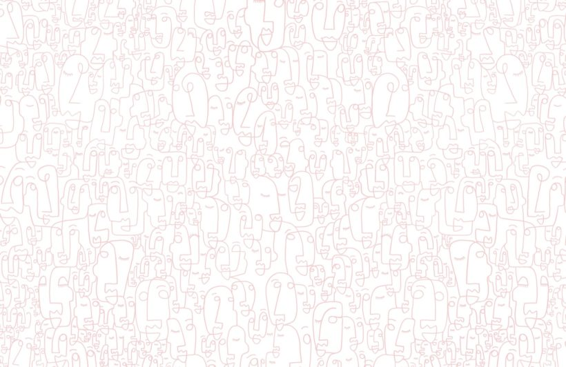 Pink Line Drawing Face Wallpaper Mural