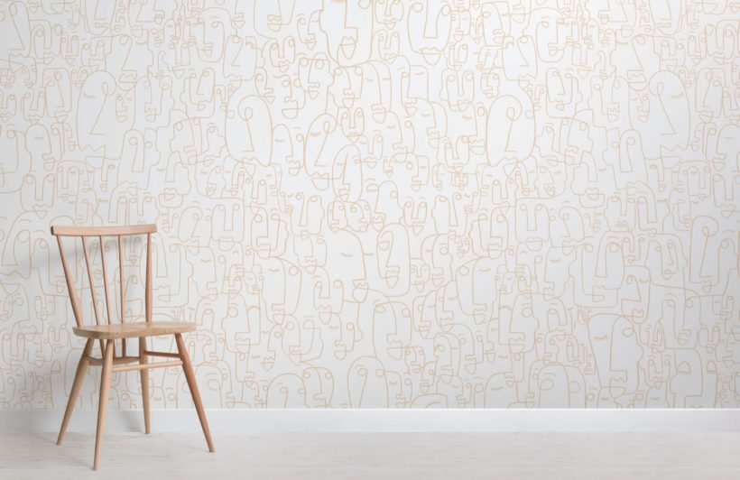 Neutral Line Drawing Wallpaper Mural