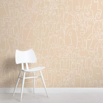 Neutral and White Face Wallpaper Mural