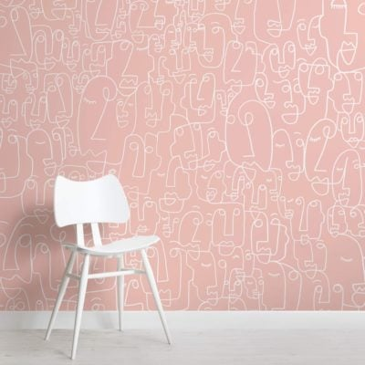 Pink and White Face Wallpaper Mural
