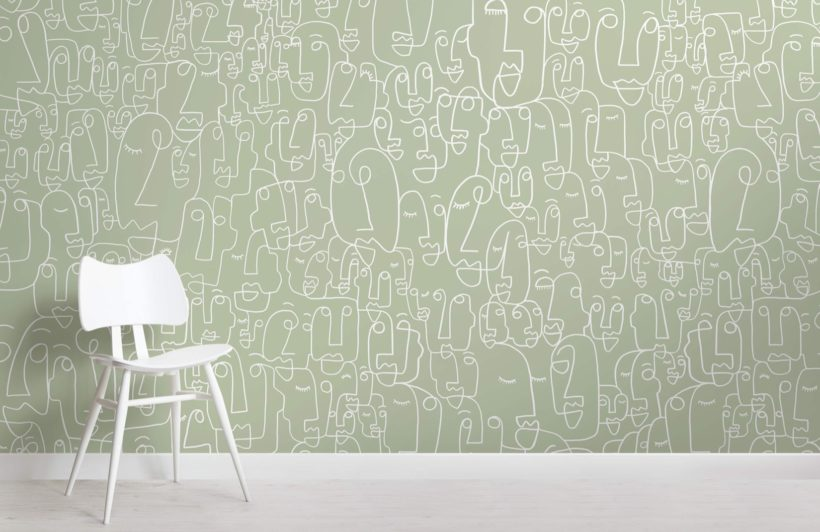 Sage and White Face Wallpaper Mural