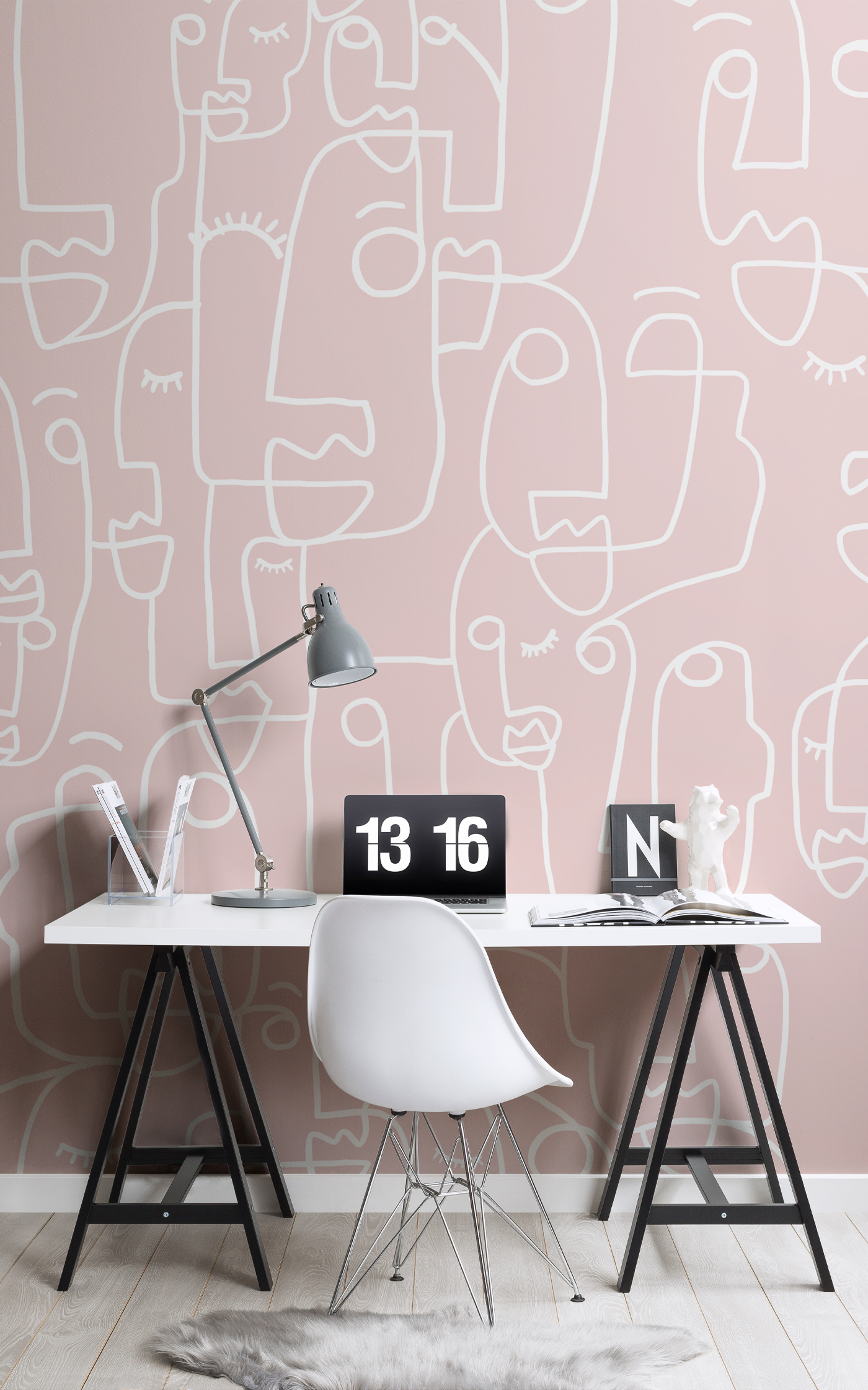 Features Dusky Pink in home office room