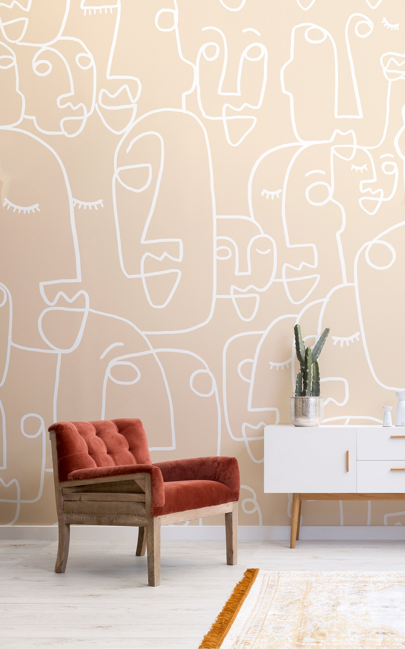 nude line drawing face wallpaper