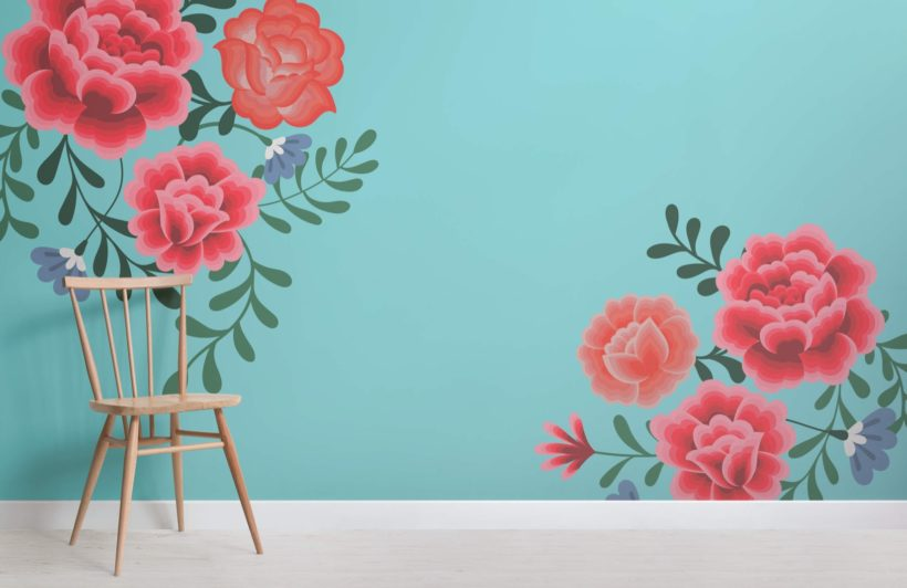 Blue Frida Kahlo Flower Wallpaper Mural