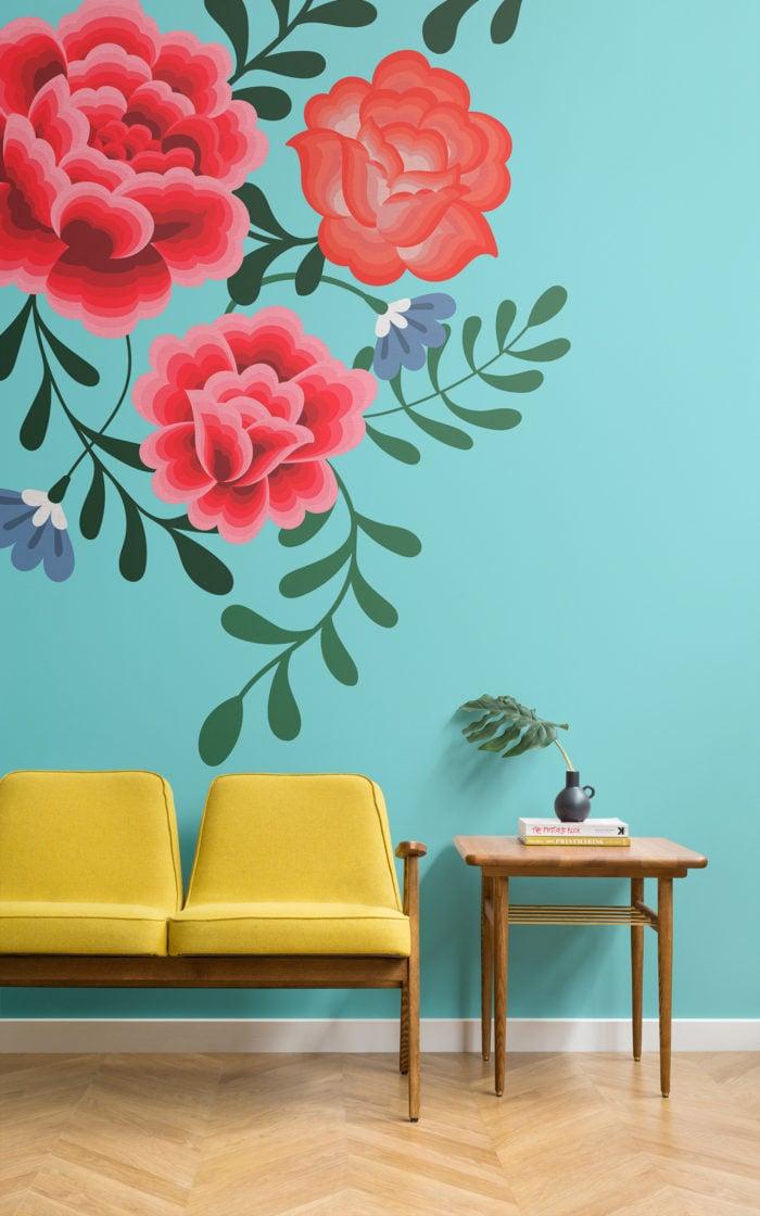 blue frida kahlo flower wallpaper