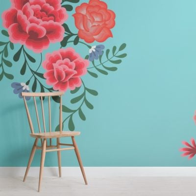 Blue Frida Kahlo Flower Wallpaper Mural