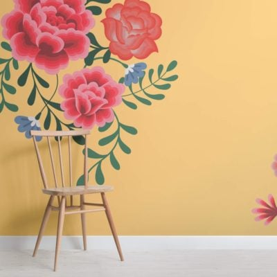 Yellow Frida Kahlo Floral Wallpaper Mural