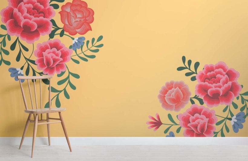 Yellow Frida Kahlo Floral Wallpaper Mural
