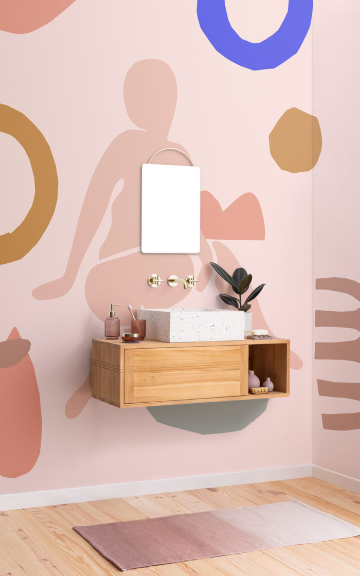 pale pink abstract shape wallpaper