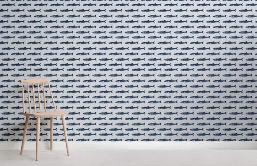 Fish Pattern Seaside Wallpaper Mural