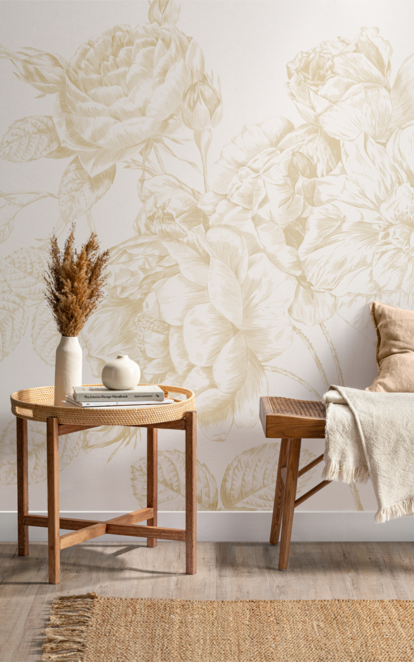 Campaign Poster - Yellow Large Illustrated Roses Wallpaper Mural