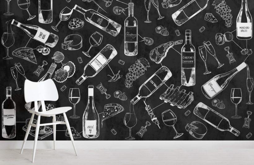Food and Wine Chalkboard Wallpaper Mural