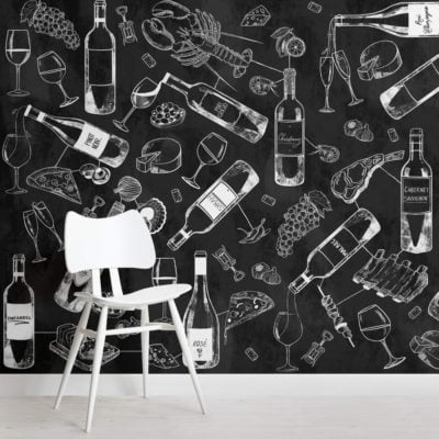 Food and Wine Chalkboard Wallpaper Mural