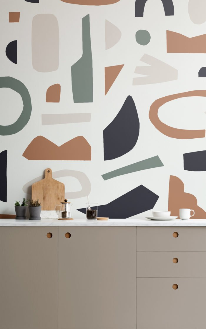 Navy and Brown Abstract Shape Wallpapper