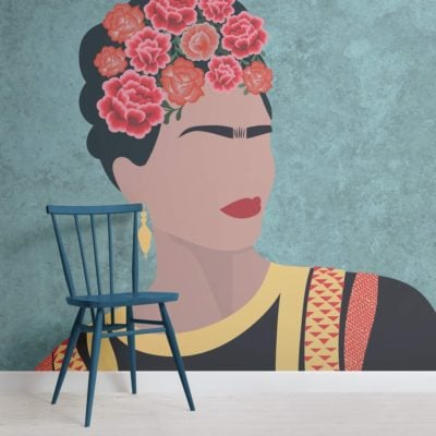 Frida Kahlo Portrait Floral Wallpaper Mural