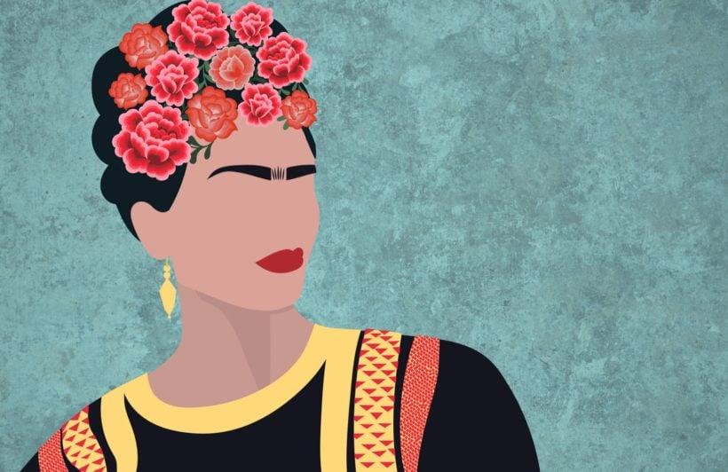 Frida Kahlo Portrait Floral Wallpaper Mural