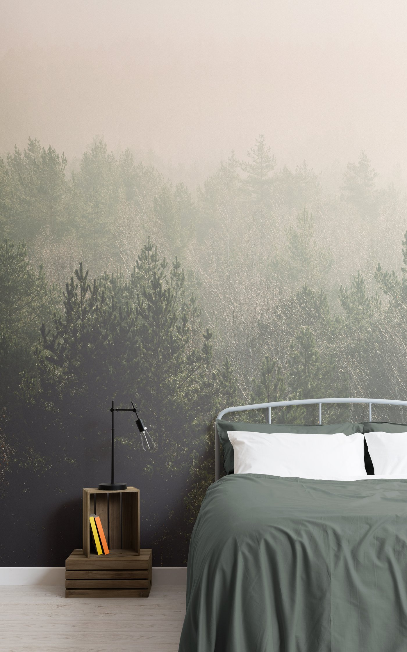 ombre forest wallpaper mural