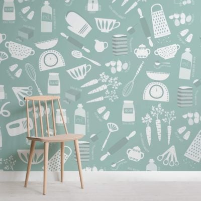 Green Carrot Cake Baking Wallpaper Mural