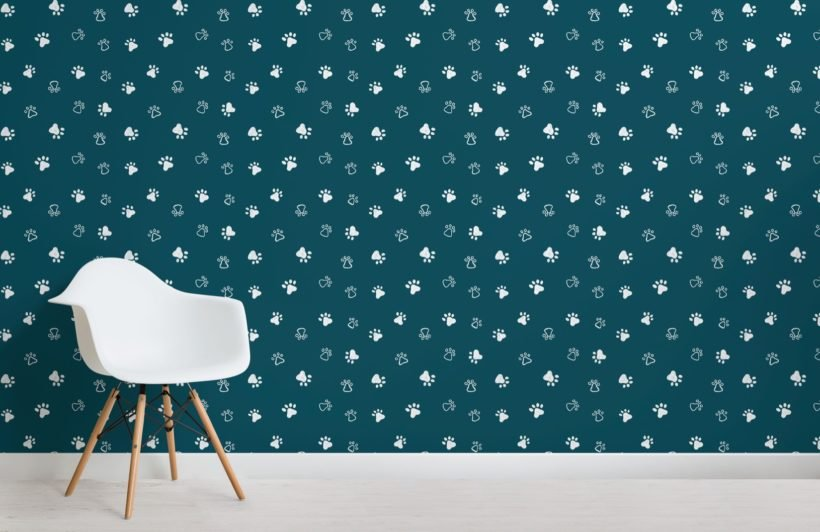 Green Dog Paw Print Pattern Wallpaper Mural