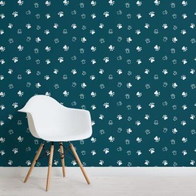 Green Dog Paw Print Pattern Wallpaper Mural